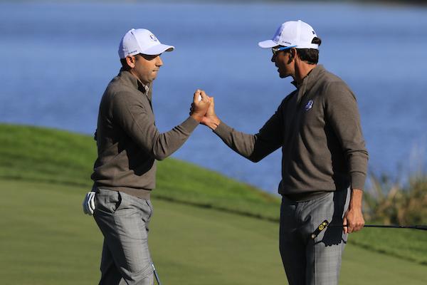 Sergio García y Rafa Cabrera, en la Ryder Cup de Hazeltine. © Golffile | Eoin Clarke