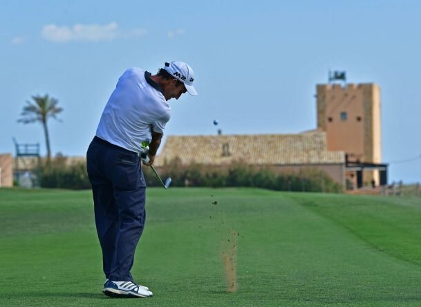 Edoardo Molinari plays a shot during the pro - am prior to the start of The Rocco Forte Open at Verdura Golf and Spa Resort. © Getty Images | Stuart Franklin
