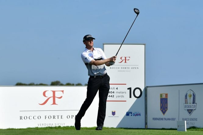 Michael Hoey of Northern Ireland tees off during the first round of the Rocco Forte Open at Verdura Golf and Spa Resort. © Getty Images | Stuart Franklin