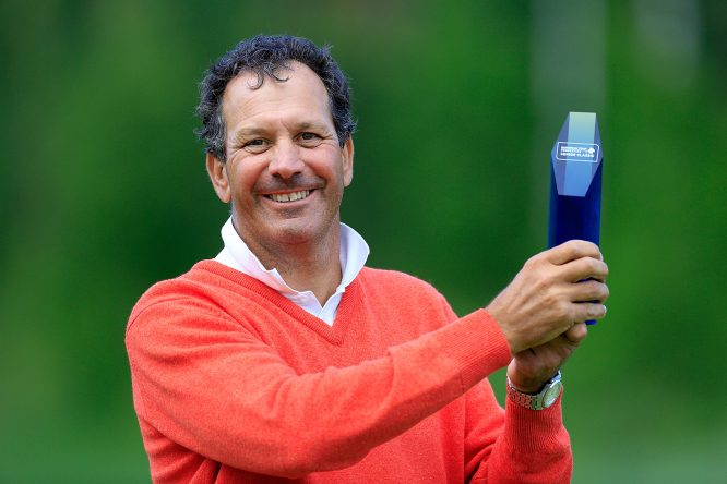Santiago Luna of Spain poses with the trophy after the final round of the European Tour Properties Senior Classic played at Linna Golf on June 23, 2017 in Harviala Hameenlinna, Finland. (Photo by Phil Inglis/Getty Images)