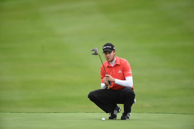 Steven Brown, from England, lines up a putt on the first green during the 2nd round of the Volopa Irish Challenge at Mount Wolseley Hotel Spa and Golf Resort on September 9, 2016 in Carlow, Ireland. (Photo by Patrick Bolger/Getty Images)