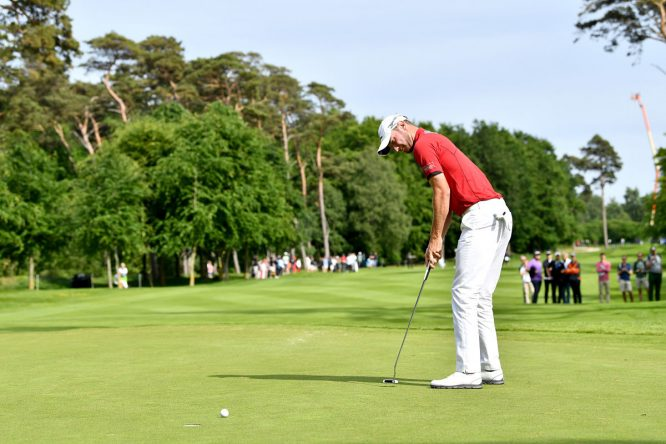 Chris Wood of England putts during day three of Nordea Masters at Barseback Golf & Country Club on June 3, 2017 in Barsebackshamn, Sweden. (Photo by Stuart Franklin/Getty Images)