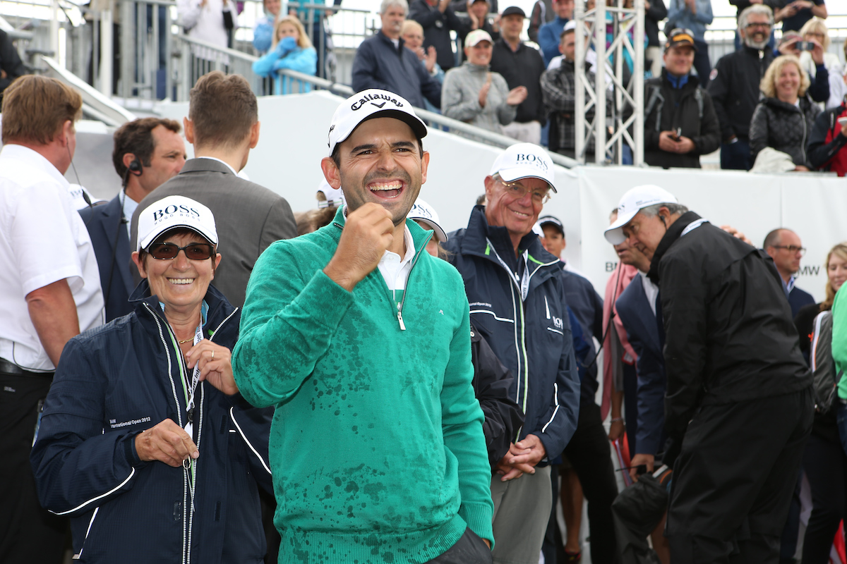 Fabrizio Zanotti celebra su victoria en el BMW International en 2014. © Golffile | David Lloyd