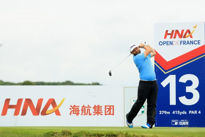 Andy Sullivan of England tees off on the 13th during day three of the HNA Open de France at Le Golf National on July 1, 2017 in Paris, France. (Photo by Andrew Redington/Getty Images)