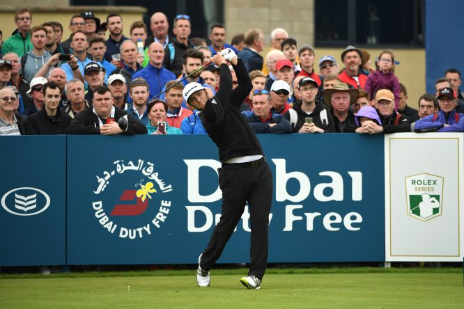 Jon Rahm of Spain tees off on the 17th hole during day one of the Dubai Duty Free Irish Open at Portstewart Golf Club on July 6, 2017 in Londonderry, Northern Ireland. (Photo by Ross Kinnaird/Getty Images)
