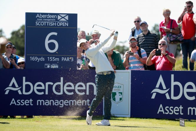 Rory McIlroy of Northern Ireland tees off on the 6th hole during a Pro-Am prior to the AAM Scottish Open at Dundonald Links Golf Course on July 12, 2017 in Troon, Scotland. (Photo by Gregory Shamus/Getty Images)