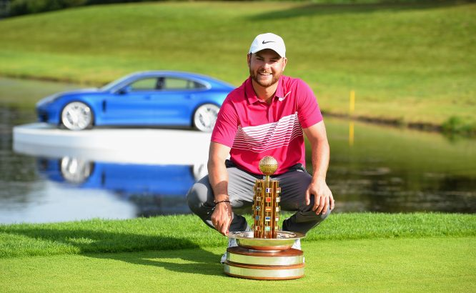 Jordan Smith of England poses with the trophy after winning the Porsche European Open during the Porsche European Open - Day Four at Green Eagle Golf Course on July 30, 2017 in Hamburg, Germany. (Photo by Tony Marshall/Getty Images)