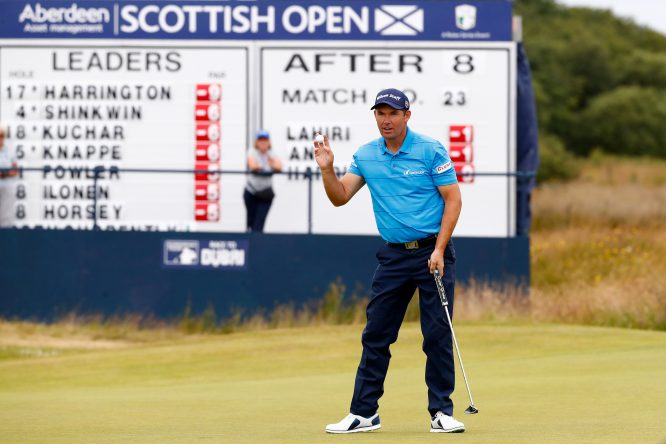 Padraig Harrington of Ireland acknowledges the crowd on the 9th green during day two of the AAM Scottish Open at Dundonald Links Golf Course on July 14, 2017 in Troon, Scotland. (Photo by Gregory Shamus/Getty Images)
