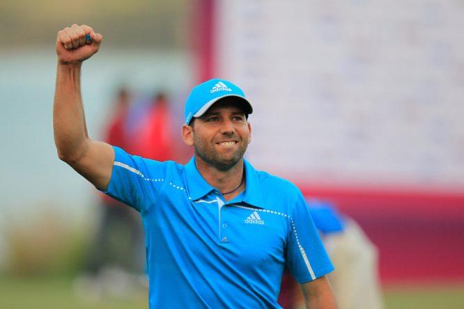 Sergio García celebra la victoria en el Qatar Masters de 2014, una de las excepciones de este estudio. © Golffile | Eoin Clarke