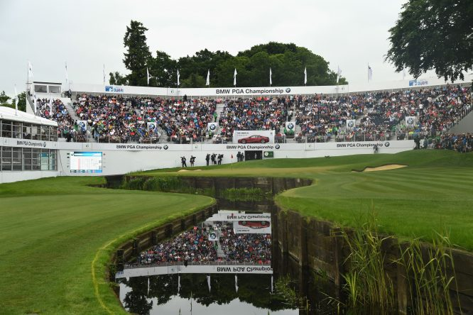 A general view of the 18th green during day four of the BMW PGA Championship at Wentworth on May 28, 2017 in Virginia Water, England. (Photo by Ross Kinnaird/Getty Images)
