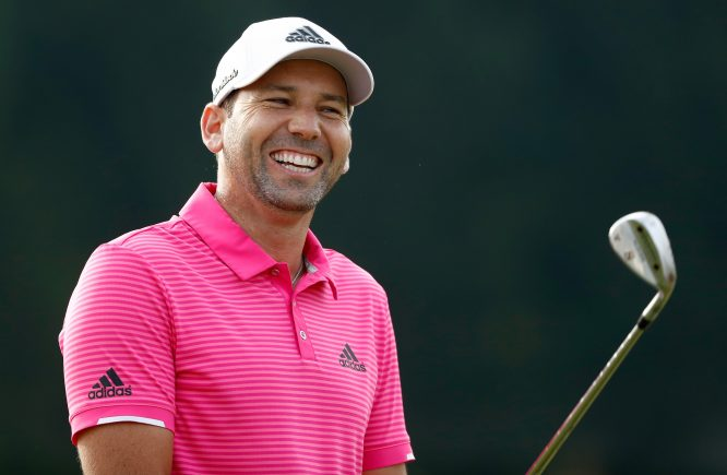 Sergio Garcia of Spain looks on from the practice range during the second round of the World Golf Championships - Bridgestone Invitational at Firestone Country Club South Course on August 4, 2017 in Akron, Ohio. (Photo by Sam Greenwood/Getty Images)