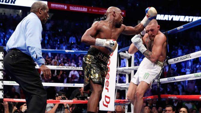Combate entre Mayweather y McGregor © Twitter