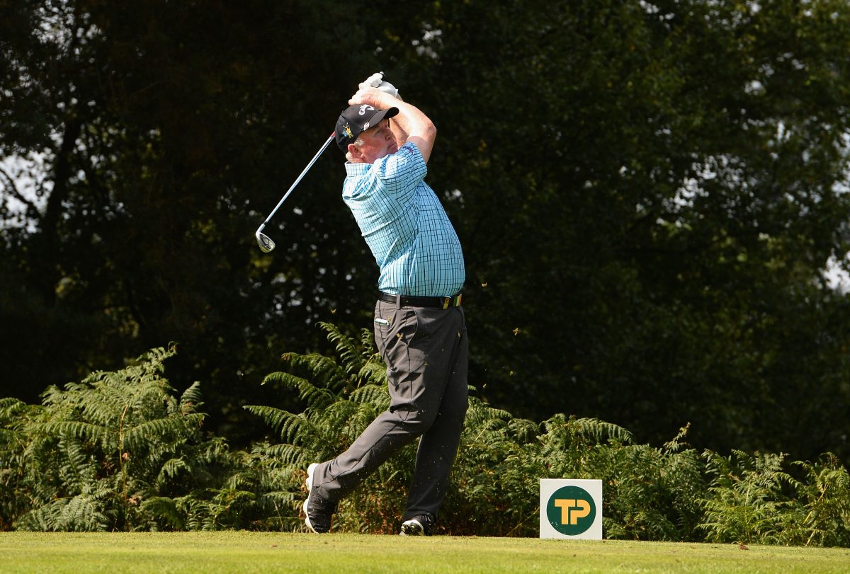 Brendan McGovern of Ireland plays his first shot on the 3rd tee during the Travis Perkins Senior Masters - Day Two at Woburn Golf Club on September 2, 2017 in Woburn, England.  (Photo by Tony Marshall/Getty Images)