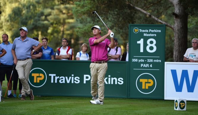 Clark Dennis of the United States plays his first shot on the 18th tee during the Travis Perkins Senior Masters - Day Two at Woburn Golf Club on September 2, 2017 in Woburn, England. (Photo by Tony Marshall/Getty Images)