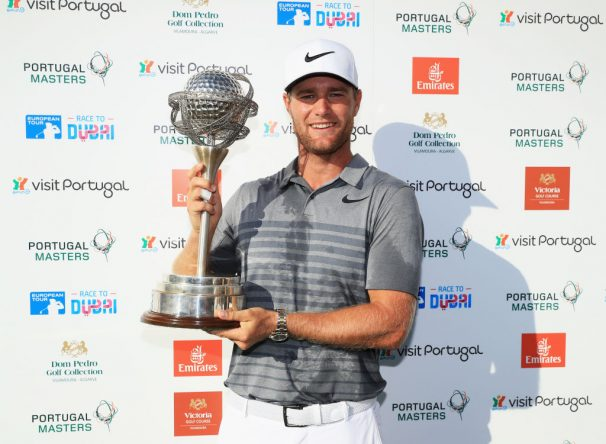Lucas Bjerregaard with trophy. Portugal Masters at Dom Pedro Victoria Golf Club on September 24, 2017 in Albufeira, Portugal.