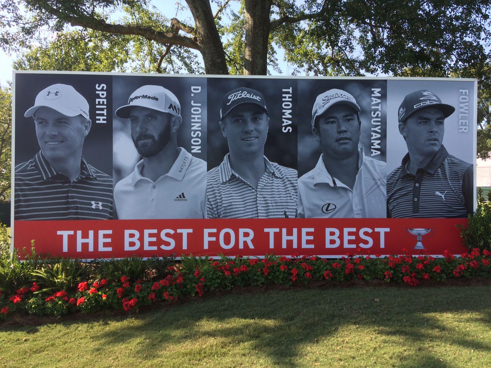 El cartel que recibe a los espectadores en la Final de la FedEx Cup.