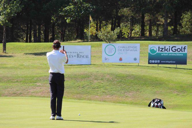 Pedro Oriol, durante la primera ronda en Izki Golf.