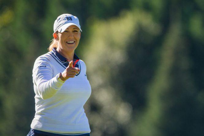 Cristie Kerr, durante la tercera ronda hoy en Golf de Chantaco. © Tristan Jones