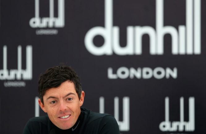Rory McIlroy of Northern Ireland speaks in a press conference during practice prior to the 2017 Alfred Dunhill Links Championship at The Old Course on October 4, 2017 in St Andrews, Scotland. (Photo by Richard Heathcote/Getty Images)