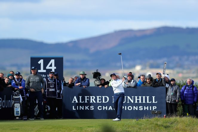 Paul Dunne of Ireland tees off on the 14th during day one of the 2017 Alfred Dunhill Championship at The Old Course on October 5, 2017 in St Andrews, Scotland. (Photo by Richard Heathcote/Getty Images)