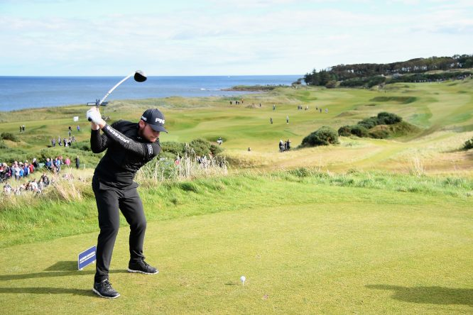 Tyrrell Hatton of England tees off on the 7th during day three of the 2017 Alfred Dunhill Championship at Kingsbarns on October 7, 2017 in St Andrews, Scotland. (Photo by Ross Kinnaird/Getty Images)