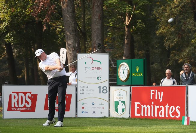 Marcus Fraser of Australia tees off on the 18th hole during day two of the Italian Open at Golf Club Milano - Parco Reale di Monza on October 13, 2017 in Monza, Italy. (Photo by Christopher Lee/Getty Images)