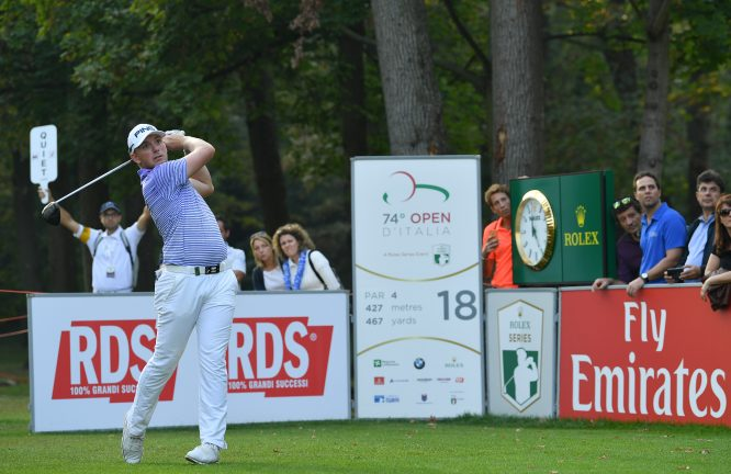 Matt Wallace of England plays a shot during the third round of the Italian Open at Golf Club Milano - Parco Reale di Monza on October 14, 2017 in Monza, Italy. (Photo by Stuart Franklin/Getty Images)