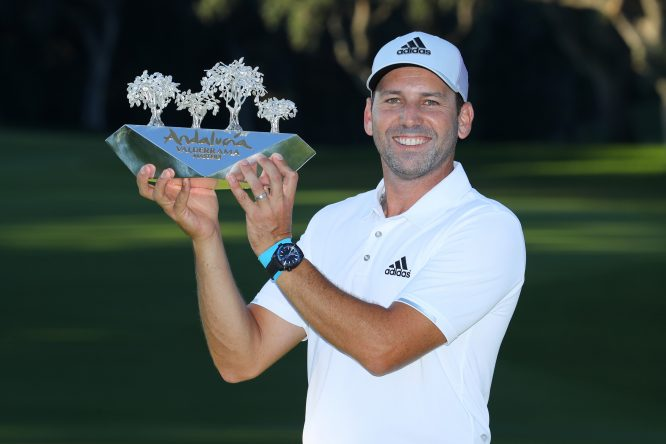 Sergio Garcia of Spain poses with the trophy following his victory during the final round of of the Andalucia Valderrama Masters at Real Club Valderrama on October 22, 2017 in Cadiz, Spain. (Photo by Warren Little/Getty Images)
