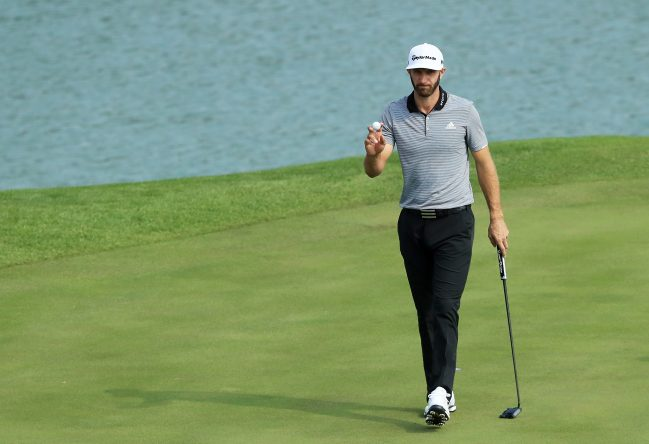 Dustin Johnson of the United States reacts on the second green during the second round of the WGC - HSBC Champions at Sheshan International Golf Club on October 27, 2017 in Shanghai, China. (Photo by Andrew Redington/Getty Images)