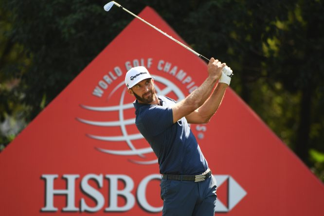 Dustin Johnson of the United States plays his shot from the sixth tee during the third round of the WGC - HSBC Champions at Sheshan International Golf Club on October 28, 2017 in Shanghai, China. (Photo by Ross Kinnaird/Getty Images)