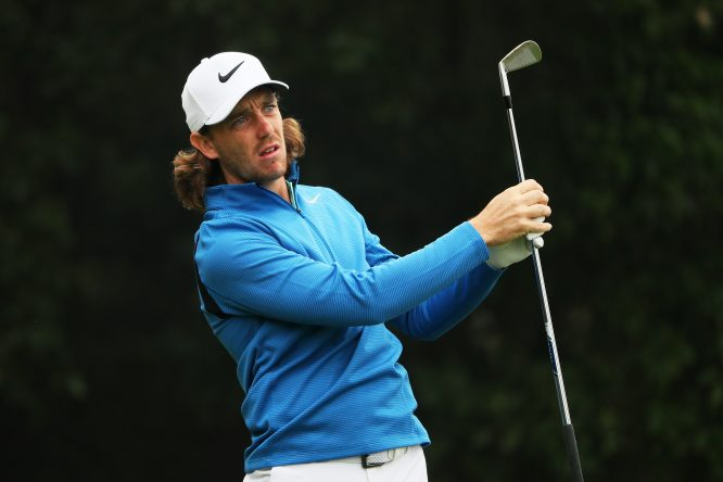 Tommy Fleetwood of England plays his shot from the fourth tee during the final round of the WGC - HSBC Champions at Sheshan International Golf Club on October 29, 2017 in Shanghai, China. (Photo by Andrew Redington/Getty Images)