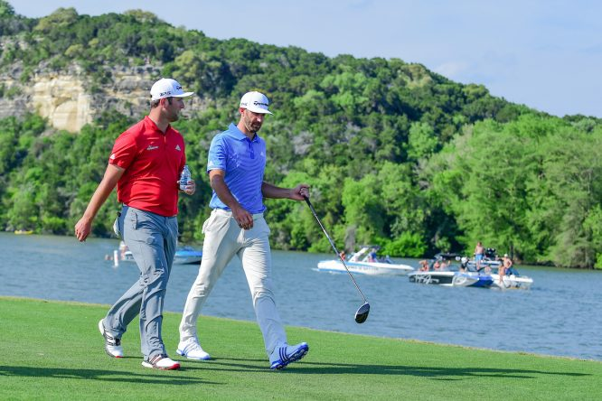 Jon Rahm y Dustin Johnson en el World Golf Championships, Dell Technologies Match Play 2017. © Golffile | Ken Murray
