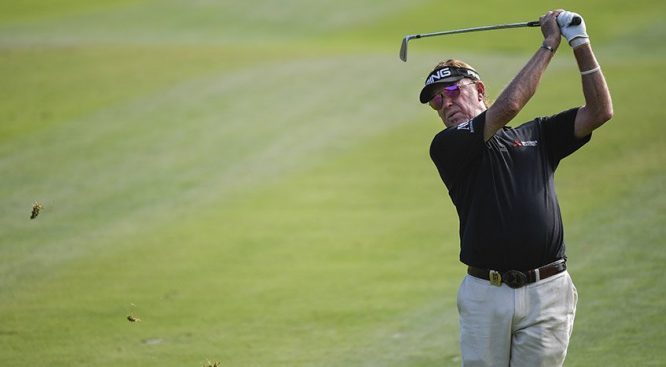 Miguel Ángel Jiménez, ayer durante la última jornada del PowerShares QQQ Chanmpionship. © PGA Tour Champions