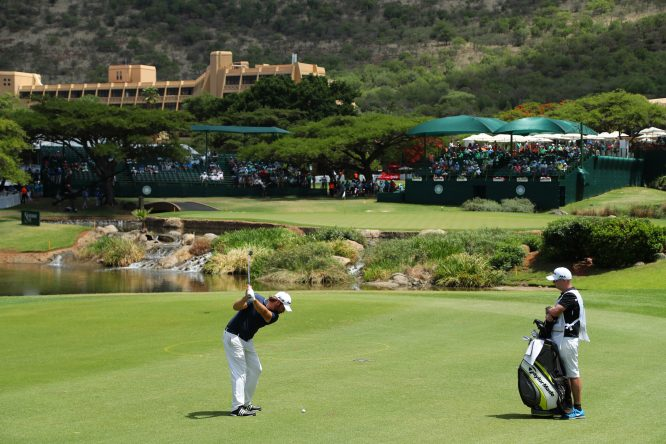 Victor Dubuisson of France hits his third shot on the 9th hole during the second round of the Nedbank Golf Challenge at Gary Player CC on November 10, 2017 in Sun City, South Africa. (Photo by Richard Heathcote/Getty Images)
