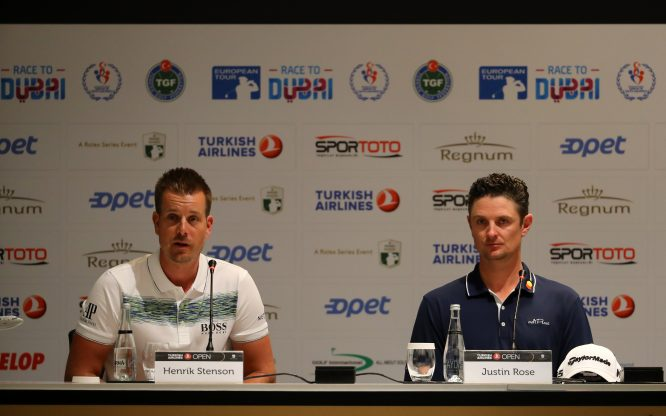 Henrik Stenson of Sweden and Justin Rose of England speak to the media during a press conference ahead of the Turkish Airlines Open at the Regnum Carya Resort on November 01, 2017 in Antalya, Turkey. (Photo by Richard Heathcote/Getty Images)