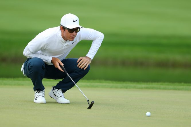 Dylan Frittelli of South Africa lines up a putt on the 15th green during the final round of the Turkish Airlines Open at the Regnum Carya Golf & Spa Resort on November 5, 2017 in Antalya, Turkey. (Photo by Richard Heathcote/Getty Images)