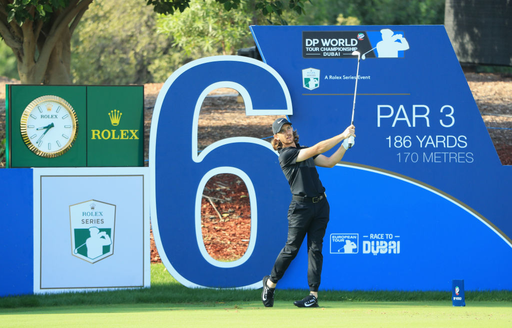 Tommy Fleetwood of England tees off on the 6th hole during the Pro-Am prior to the DP World Tour Championship at Jumeirah Golf Estates on November 14, 2017 in Dubai, United Arab Emirates. (Photo by Andrew Redington/Getty Images)