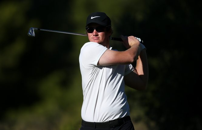 Sam Horsfield of England in action during round three of the European Tour Qualifying School Final Stage at Lumine Golf Club on November 13, 2017 in Tarragona, Spain. (Photo by Jan Kruger/Getty Images)