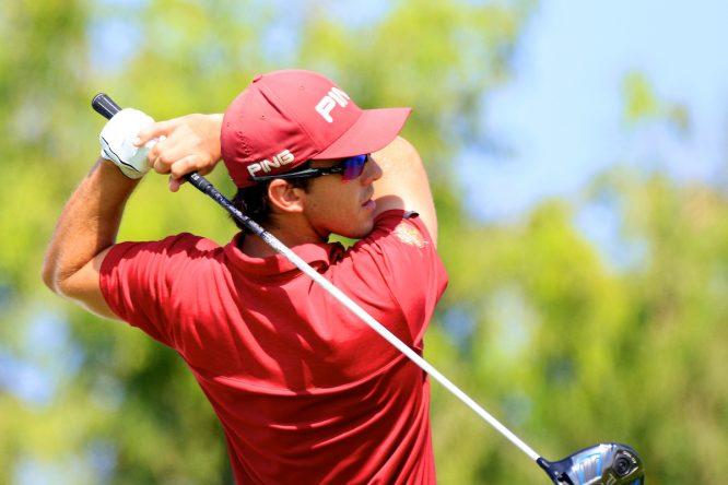 Scott Fernández durante la tercera ronda en Al Mouj Golf. © Golffile   Phil Inglis
