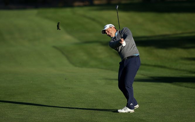 Simon Khan of England in action during the second round of the European Tour Qualifying School Final Stage at Lumine Golf Club on November 12, 2017 in Tarragona, Spain. (Photo by Jan Kruger/Getty Images)