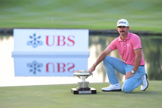 Wade Ormsby of Australia pose with the trophy after winning the UBS Hong Kong Open at The Hong Kong Golf Club on November 26, 2017 in Hong Kong, Hong Kong. (Photo by Arep Kulal/Getty Images)