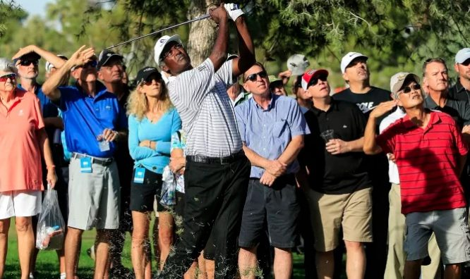 Vijay Singh, ayer durante la primera ronda de la Final del Champions. © PGA Tour Champions