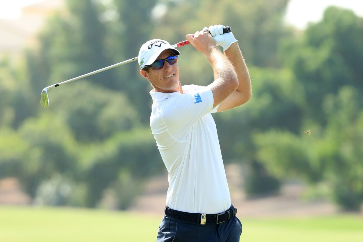 Nicolas Colsaerts of Belgium hits his second shot on the 3rd hole during the first round of the DP World Tour Championship at Jumeirah Golf Estates on November 16, 2017 in Dubai, United Arab Emirates. (Photo by Andrew Redington/Getty Images)