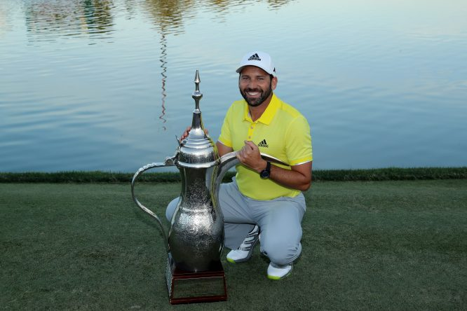 Sergio Garcia of Spain poses with the trophy after his two shot victory during the final round of the 2017 Omega Dubai Desert Classic on the Majlis Course at the Emirates Golf Club at Emirates Golf Club on February 5, 2017 in Dubai, United Arab Emirates. (Photo by David Cannon/Getty Images)