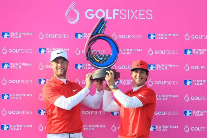 Thorbjorn Olesen and Lucas Bjerregaard of Denmark pose with the trophy after winning the final match between Denmark and Australia during day two of GolfSixes at The Centurion Club on May 7, 2017 in St Albans, England. (Photo by Andrew Redington/Getty Images)