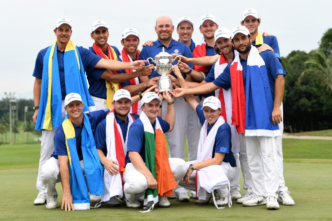 Europe Captain Thomas Bjorn and the Europe team pose with the trophy following their victory during the singles matches on day three of the 2018 EurAsia Cup presented by DRB-HICOM at Glenmarie G&CC on January 14, 2018 in Kuala Lumpur, Malaysia. (Photo by Stuart Franklin/Getty Images)