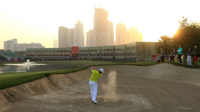 Jamie Donaldson of England hits his second shot on the 9th hole during round one of the Omega Dubai Desert Classic at Emirates Golf Club on January 25, 2018 in Dubai, United Arab Emirates. (Photo by Andrew Redington/Getty Images)