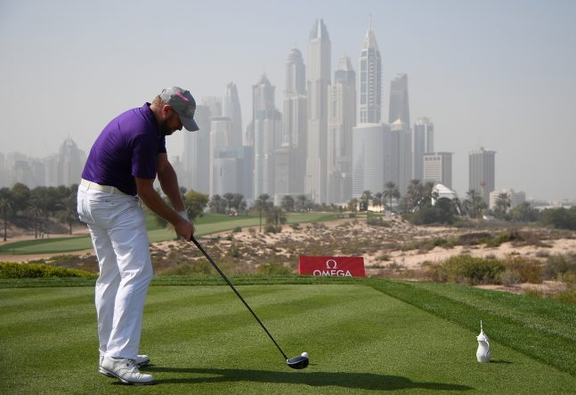 DUBAI, UNITED ARAB EMIRATES - JANUARY 26: Jamie Donldson of Wales hits his tee shot on the 8th hole during round two of the Omega Dubai Desert Classic at Emirates Golf Club on January 26, 2018 in Dubai, United Arab Emirates. (Photo by Ross Kinnaird/Getty Images)