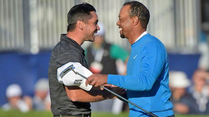 Jason Day y Tiger Woods, saludándose © PGA Tour