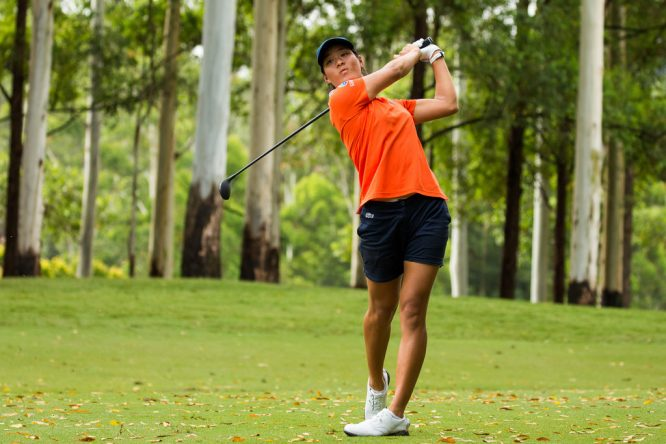 Celine Boutier durante la tercera ronda en Bonville Golf. © Tristan Jones